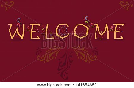Inscription Welcome. Artistic font. Delicate letters with floral decor. Illustration