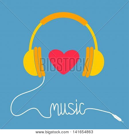 Yellow headphones with white cord in shape of word Music. Red heart. Love greeting card. Flat design icon. Blue background. Vector illustration.