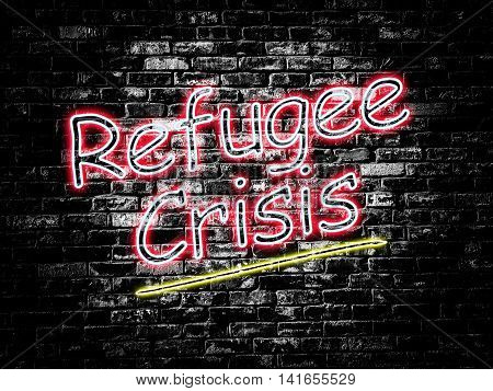 Refugee Crisis sign on old black vintage brick wall background