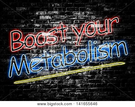 Boost your Metabolism sign on old black vintage brick wall background
