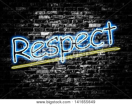 Respect sign on old black vintage brick wall background