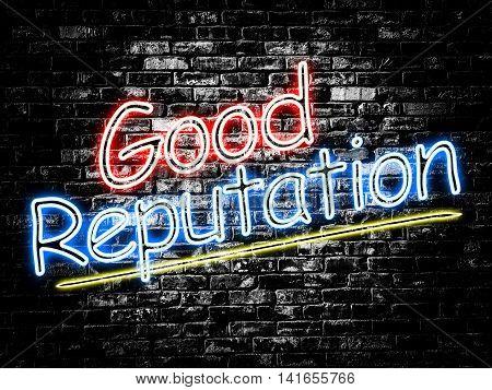 Good Reputation sign on old black vintage brick wall background