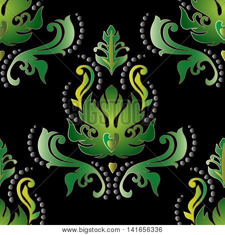 Colorful green floral damask baroque vector vintage seamless pattern background with elegant volumetric ornaments. Luxury elements in Victorian style.  3d decor with shadow and highlights.