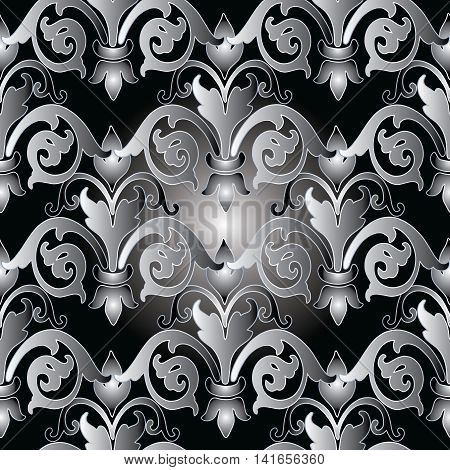Floral damask baroque vector vintage seamless pattern background with elegant volumetric ornaments. Luxury elements in Victorian style.  3d decor with shadow and highlights.