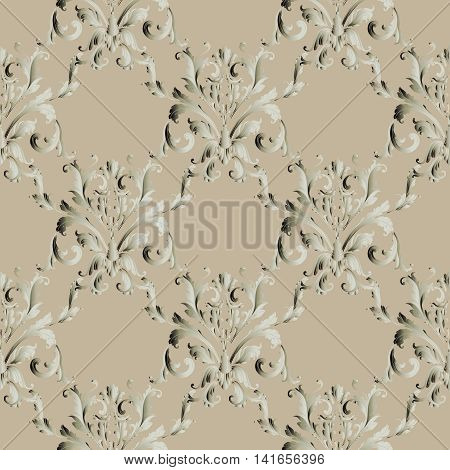 Floral  light brown damask baroque vector vintage seamless pattern background  with elegant volumetric ornaments. Luxury elements in Victorian style.  3d decor with shadow and highlights.