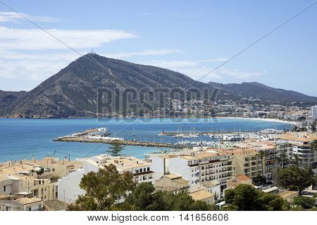 The coastal towns of Altea and Albir on the Costa Blanca southern Spain with the blue Mediterranean sea