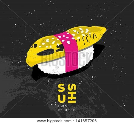 Vintage printable art sushi with fish. Vector japanese food print in pop art style. Design for t-shirt, card or picture for interior. Nigiri sushi unagi illustration in flat style.