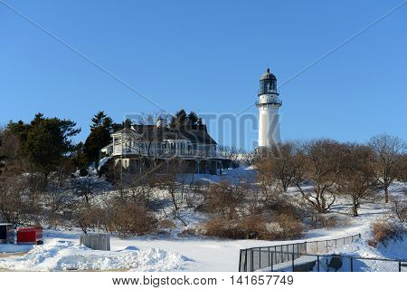 Cape Elizabeth Lighthouse, also known as Two Lights, located in Town of Cape Elizabeth, Maine, USA.