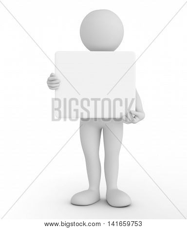 Toon man holding a blank banner, billboard, your advertisement. 3D illustration