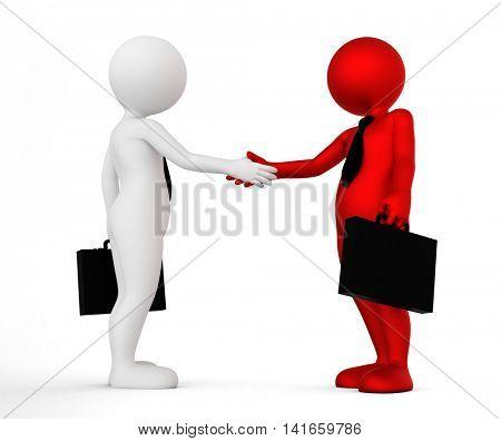 Business handshake. Ton man shaking hands. Deal, agreement, partner concept. 3D illustration