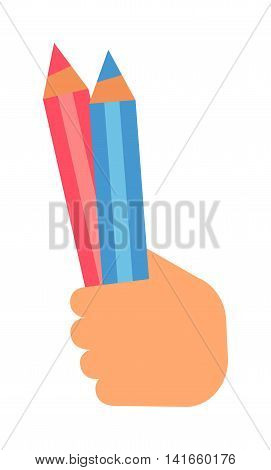People hand holding pencil on white background. Human education hand holding sketch pencil vector symbol. People design hand with pencil presentation message drawing school graphic.