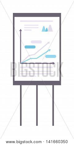 Business graph date chart on whiteboard flipchart icon business presentation vector illustration. Business presentation flipchart icon. Flipchart board with presentation graph. Flipchart icon growth report symbol.
