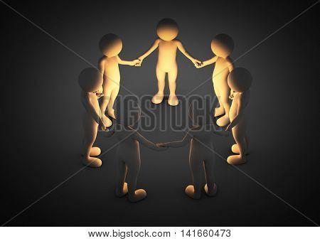 Toon men holding hands in a circle. Light shining. Brainstorm, teamwork, connection concept. 3D illustration