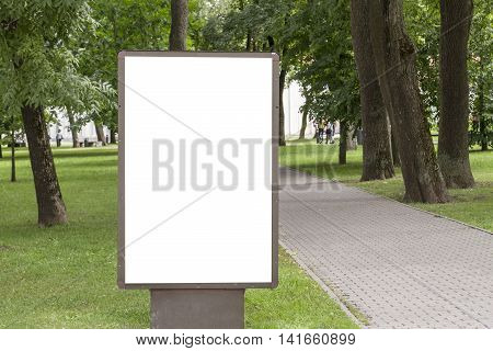 Mock up. Blank billboard with copy space for your text message or content public information board in the park