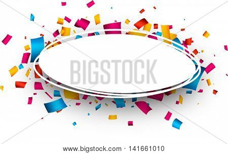 White oval background with color confetti. Vector paper illustration.