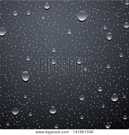 Gray background with water drops. Vector illustration.