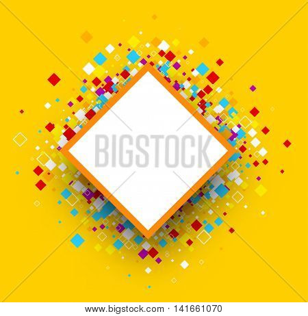 Yellow background with color rhombs. Vector paper illustration.