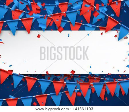 Festive background with garland of flags. Vector paper illustration.
