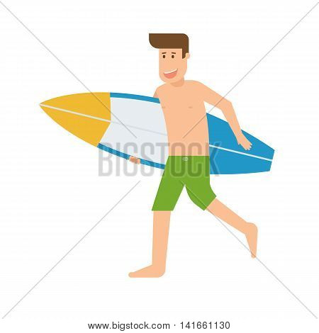 Surfer Man Running With Surfboard