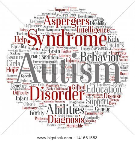 Concept conceptual childhood autism syndrome symptoms or disorder abstract round word cloud isolated on background
