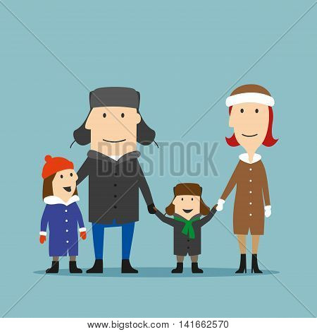 Happy smiling cartoon family in winter wear spending time together on a walk. Parents and children enjoying family time in winter holidays or weekends. Family outdoor activity, happy family time concept design