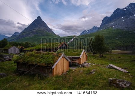 Traditional Norwegian house with grass roof, Innerdalen, Norway