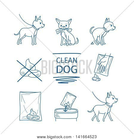 Dangerous dog clean up poop vector blue line doodles