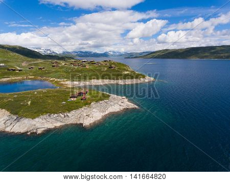 Amazing aerial view of scenic Norway islands, Vang, Oppland.