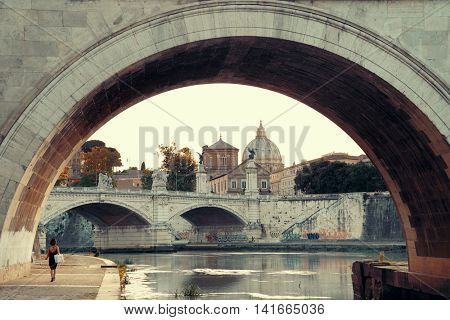 River Tiber and St Peters Basilica in Vatican City