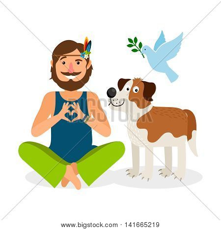 Hippie Peace Man with Dog and Dove. Vector Illustration
