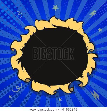 Comic book hole, boom explosion blue color frame illustration