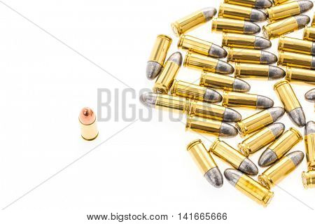 9mm bullet for gun on white background