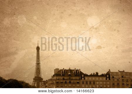 The Eiffel Tower - old-fashioned paris france -  with space for text or image