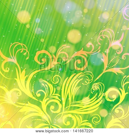 Abstract floral pattern on a green background with bokeh. Magical fantasy flowers design card.