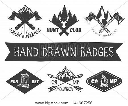 Vector set of hand drawn forest camp labels in vintage style. Design elements, icons, logo, emblems and badges isolated on white background. Logotype template illustration with forest and mountains.