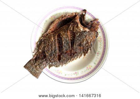 crisp fried Tilapia fish on white, Thailand food