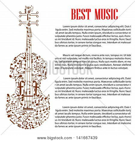 Musical design template with silhouette of violin made up of brown musical note, treble and bass clef and various symbols of musical notation with text layout and header Best Music. Arts design