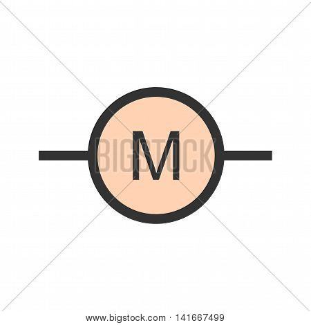 Motor, electric, industrial icon vector image. Can also be used for electric circuits. Suitable for use on web apps, mobile apps and print media.