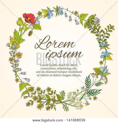 Floral frame with hand drawn wild flowers template for wedding invitation and greeting card. Flower frame template for card, wild flower wreath for wedding, vector illustration