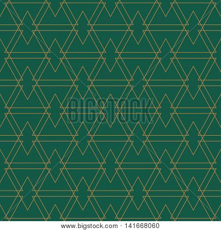 Golden seamles pattern. Green background. The collection of symmetric seamless patterns