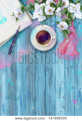 Watercolor top view composition. Paper sheet with pen, cup of coffee, silk scarf and white summer flowers on wooden background