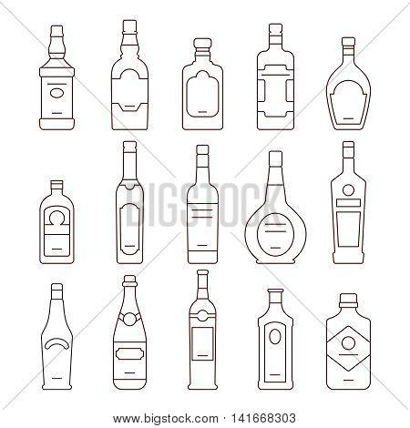 Alcohol drink bottles. Types of alcohol outline bottles, set of icons bottles vector illustration