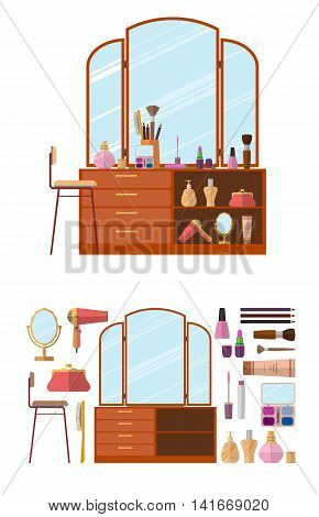 Room interior with dressing table. Woman cosmetics objects in flat style vector illustration. Furniture for female boudoir. Design elements and icons isolated on white background.
