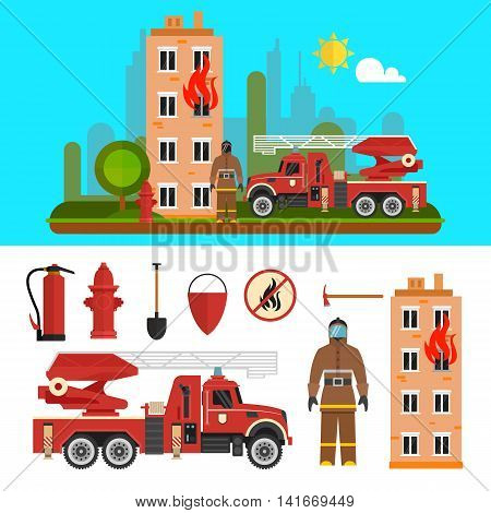 Fire fighting department objects isolated on white background. Fire station and firefighters. Design elements and icons in flat style.