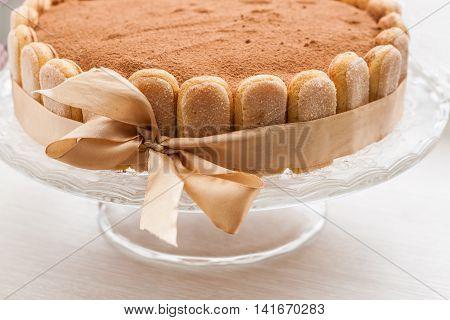 Tiramisu Cake Celebratory Circular Tied With A Ribbon With A Bow
