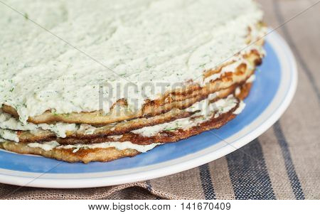 Layer Cake Zucchini and a the mayonnaise.