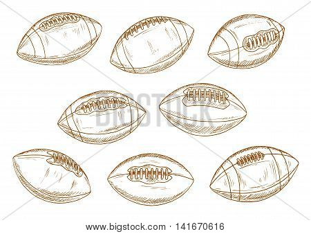 Retro balls of american football game brown sketch symbols with classic elongated leather sporting balls with stitching and lacing. Sporting competition or sports items design