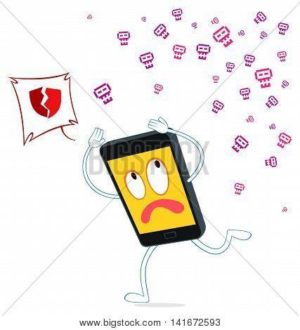 smartphone ran from virus attack vector illustration