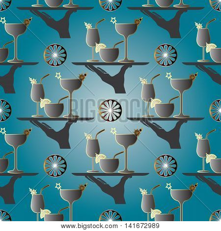 Elegant vector seamless pattern background with hand and plate with cocktails on the light blue background. Endless stylish texture.