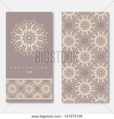 Set of two cards template for greeting invitation wedding cards. Hand drawn mandala pattern vintage oriental style. Asian indian arabic islamic ottoman motif. Vector illustration.